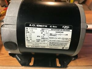 New AO Smith Blower Motor 1/3rd HP 115V 1725 RPM Model GF2034. Free Shipping!!