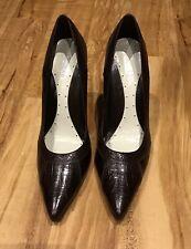 FAITH Dark Brown Leather Stiletto Heel Court Shoes - Size 7 - NEW