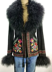 Double D Ranch Ranchwear Black Suede Leather Embroidered Floral Fur Jacket Sz Sm
