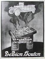 PUBLICITÉ PRESSE 1924 DE DION BOUTON RÉPUTATION UNIVERSELLE 40 ANS D'EXPÉRIENCE