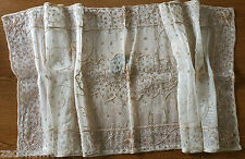 "HANDMADE PERSIAN LACE NEEDLEWORK CROTCHET TABLE CENTER CLOTH 53"" X 20""- USED"