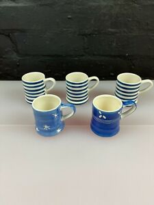 5 x Tea Clipper Whittard Blue & White Espresso Mini Mugs Stripe Flower Star