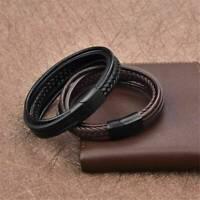 Fashion Men Simple Jewelry Braided Wristband Leather Bracelet Bangle Black/Brown