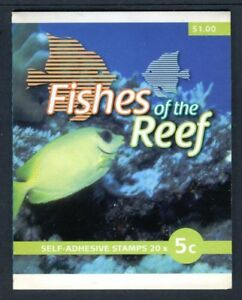 2010 Fishes of The Reef 20 x 5c Stamp Booklet SB350 - General Barcode