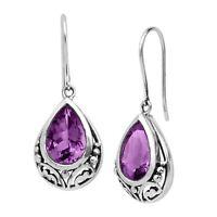 Silpada 'Thistle' Natural Amethyst Drop Earrings in Sterling Silver