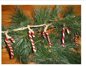 """Candy Canes Garland, 80"""",Country,Shabby, Prim,Christmas,Grungy,Tree, Candy Cane"""