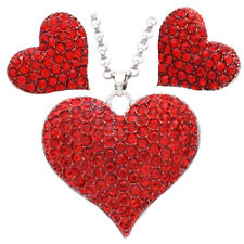 Necklace Valentine's Day Ruby Red Love Heart Pendant Stud Earrings Set Pendant b