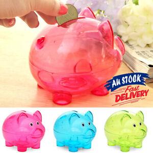 Cartoon Pig Bank Children Gift Transparent Piggy Storage Box Money Coins Box