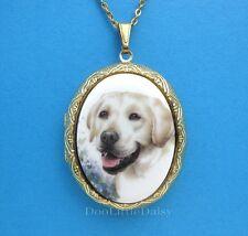 Cameo Costume Jewelry Locket Necklace Porcelain White Labrador Retriever Lab Dog