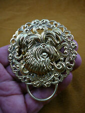 (E-822) Yorkshire terrier dog Westie brass Eyeglass pin pendant ID badge holder