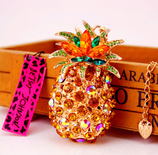 Betsey Johnson $8.99 Crystal Pineapple Necklace & free gift Fast ship USA