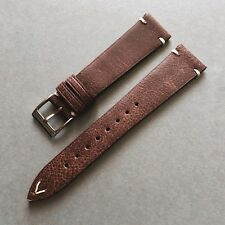 20mm Vintage Style Distressed Brown Handmade Italian Leather Watch Strap