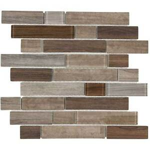 Modern Linear Brown Glass Mosaic Tile Backsplash Kitchen Wall Bathroom MTO0332