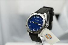 FOSSIL Herrenuhr BQ1170  top Uhr schwarzes Silikon Armband blau groß breit x NEU