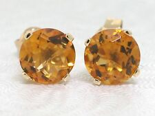 Citrin Ohrstecker 585 Gelbgold 14Kt Gold natürliche Citrine rund facettiert