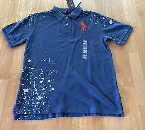 Polo Ralph Lauren Shirt Boys Blue Splatter Piqué Big Logo Large 14 16 New Nwt