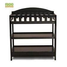 Baby Changing Table Dresser Black Wood Shelves Nursery Furniture New!