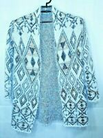 Absolutely Famous Southwestern Sweater Plush Aztec Open Front Long Cardigan Sz S