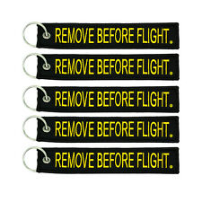 5 Pack Remove Before Flight Key Chain Black & Yellow aviation truck motorcycle