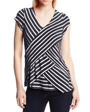 NY Collection NWT Small Knit Striped V-Neck Layered Short Sleeve Top Black/White
