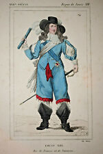 LOUIS XIII Roi France Navarre GRAVURE Costume XIX°
