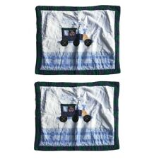 Puppy Dog on Train Quilted Pillow Sham Pair for Children Measures 28 inches x 22
