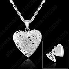 Damen 925 Sterling Silber Anhänger Halskette Herzkette Schmuck Kette