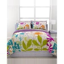 Teen Girl Bedroom Colorful Floral 7 Piece Polyester Queen Bedding Comforter Set