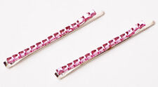PAIR OF 2 SPARKLING PINK HAIR PINS GLITTERING STONES SUMMER HOT TREND (ZX27)
