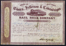 ELMIRA JEFFERSON & CANANDAIGUA RAIL ROAD COMPANY SHARE CERTIFICATE DATED 1859 NY