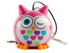 Kitsound Mini Buddy Portable Rechargeable Travel Speaker Smartphones - Pink Owl