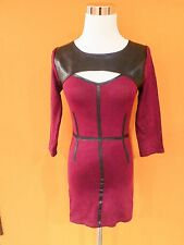 ARDEN B CRANBERRY RED LEATHER MINI EVENING CLUB PARTY SWEATER DRESS NEW  SZ XS