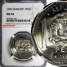 DOMINICAN REPUBLIC 1983 MO 1 Peso NGC MS64 Human Rights KEY DATE KM# 63.1