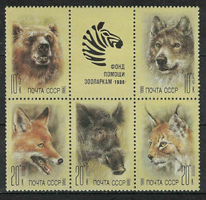 RUSSIA,USSR:1988 SC#B141-B145 S/S MNH Zoo Relief Fund.