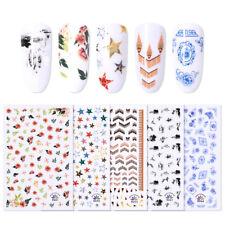 Etiqueta engomada del clavo líneas colorido estilo indio tira Nail Art transferencia calcomanías de las decoraciones