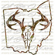 Camouflage Camo Ohio Buck Hunter Hunting Vinyl Decal Sticker Deer Skull Stag