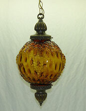 Vintage Retro Amber Glass Globe Ball Grape Swag Hanging Lamp 1960s 1970s