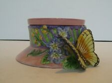 c 1970's Fitz & Floyd Essentials Butterfly Pink Trinket Box Candy Dish Top Hat