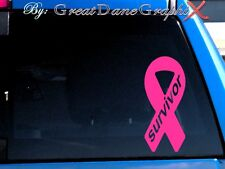 Breast Cancer Survivor Ribbon Vinyl Car Decal Sticker /Choose Color-HIGH QUALITY