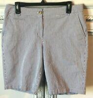 Talbots Size 10 Blue White Seer Sucker Striped Shorts Bermuda Length Chino Long