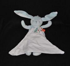 Peluche doudou lapin bleu BERLINGOT short vichy à carreaux mouchoir blanc TTBE