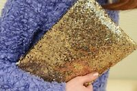 Womens Ladies Sparkling Bling Sequin Clutch Club Evening Party Handbag Bag