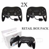 2X BOXED WHITE BLACK CLASSIC CONTROLLER PRO FOR NINTENDO WII U CONSOLE +WARRANTY