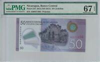 Nicaragua 50 Cordobas 2015 Pick 210 PMG Certified Banknote UNC 67 EPQ Superb Gem