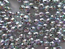 200 6mm Faceted Acrylic Silver Iridescent Beads, Frozen Jewellery Making, Crafts