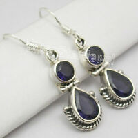 Round, Drop Earrings ! 925 Solid Silver IOLITE 2 GEMSTONE Dangle Jewelry 1.3""
