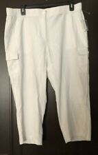 NEW TALBOTS 16W Linen Blend Pants Capri Crop Cropped Cargo White Elastic
