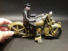 Antique Vintage Style Cast Iron Toy Motorcycle 1 Police Patrol Rider