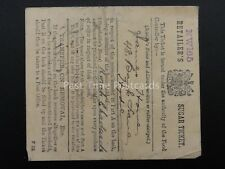 WW1 25th May 1918 RETAILERS SUGAR TICKET James Howe 48 Back Lane HYDE Manchester