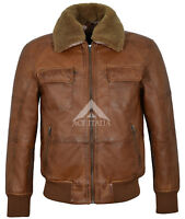 Mens Leather Jacket Tan Ginger Fur Collar BOMBER  Airforce REAL NAPA JACKET 6446